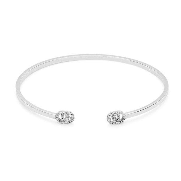 Diamond Running G Open Bangle Bracelet (18k White Gold)