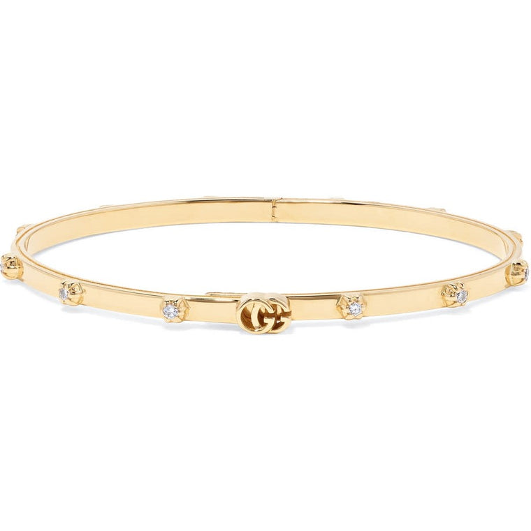 Running G Bangle Bracelet With Diamonds .36 (18k Yellow Gold)