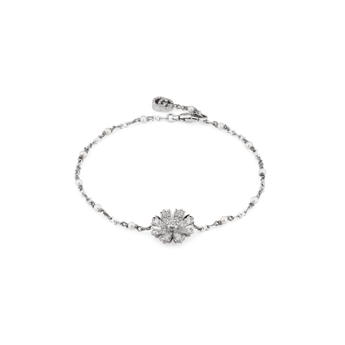 Diamond Flora Flower Bracelet (18k White Gold)
