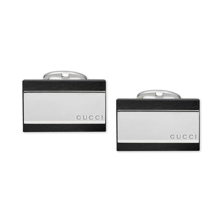 Black Leather & Sterling Silver Cufflinks (sterling Silver)