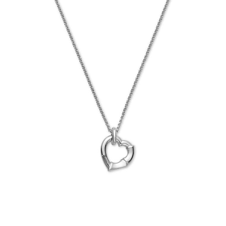 Bamboo Open Heart Necklace (sterling Silver)