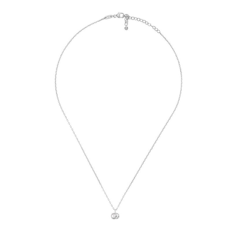 Running G Pendant Necklace (18k White Gold)