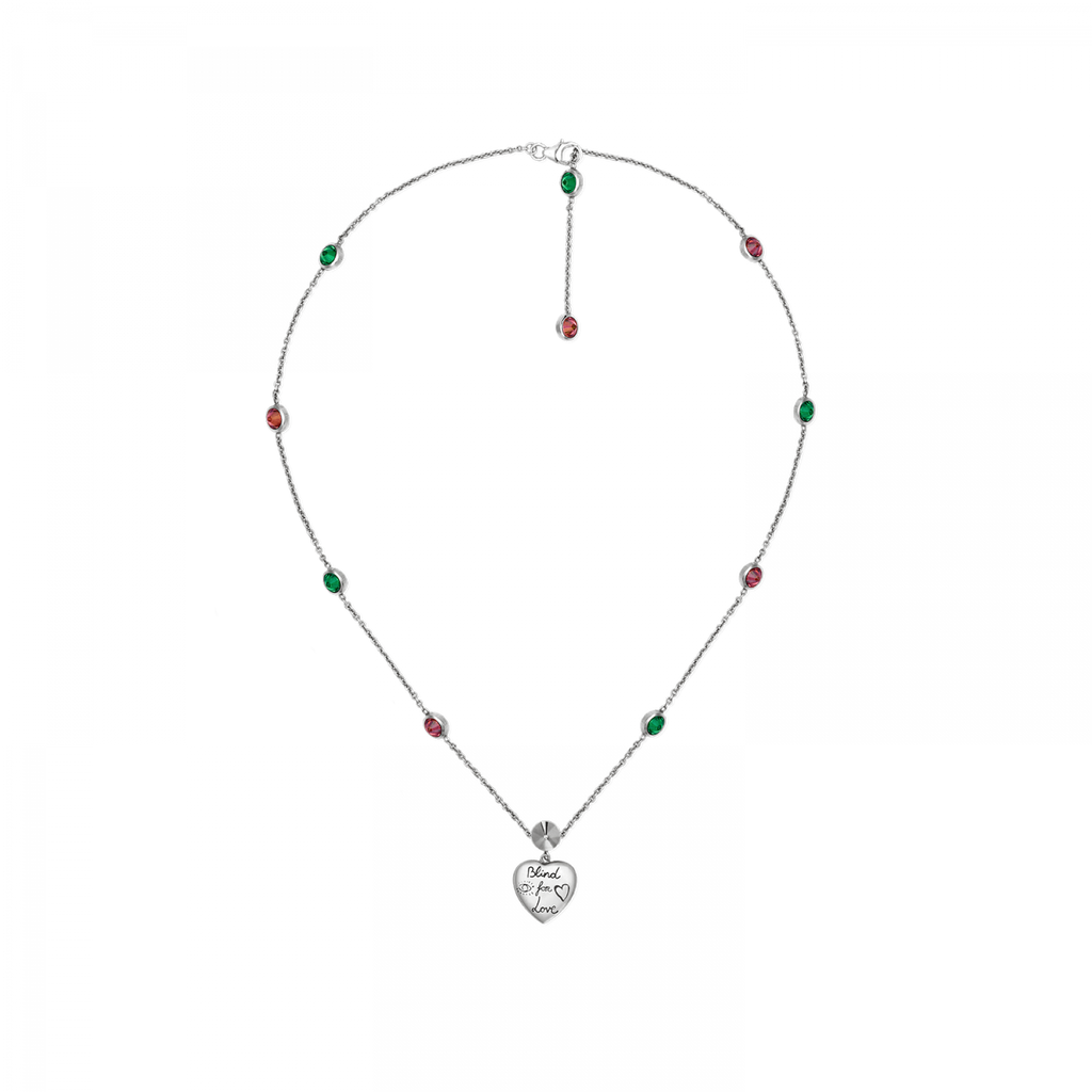 Blind For Love Heart Necklace With Green & Pink Cz (sterling Silver)