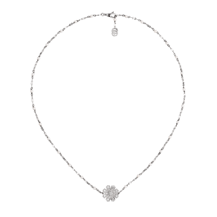 Diamond & Pearl Flora Flower Necklace .49ct  (18k White Gold)