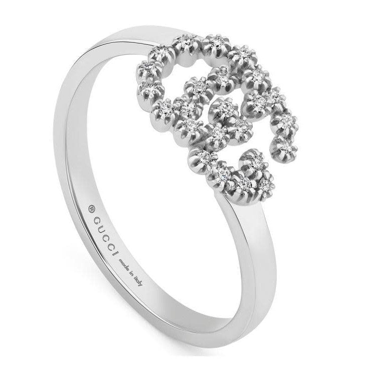 Diamond Running G Stackable Ring (18k White Gold)