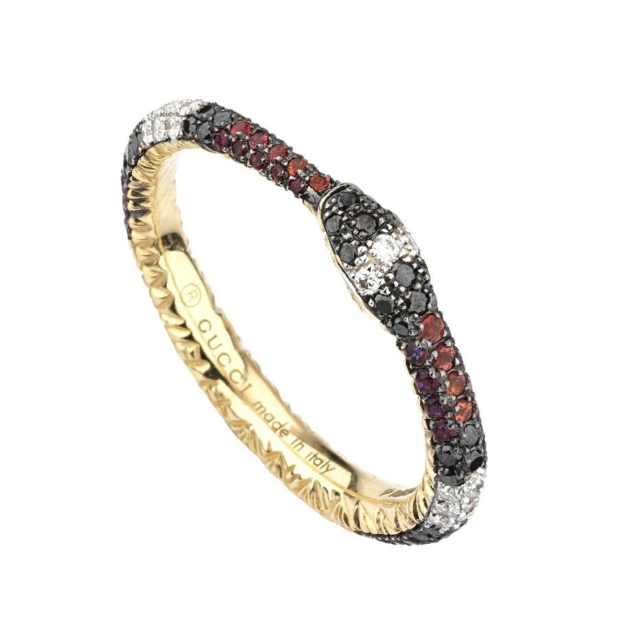 Ouroboros Sapphire, Topaz, Black & White Diamond Ring (18k Yellow Gold)