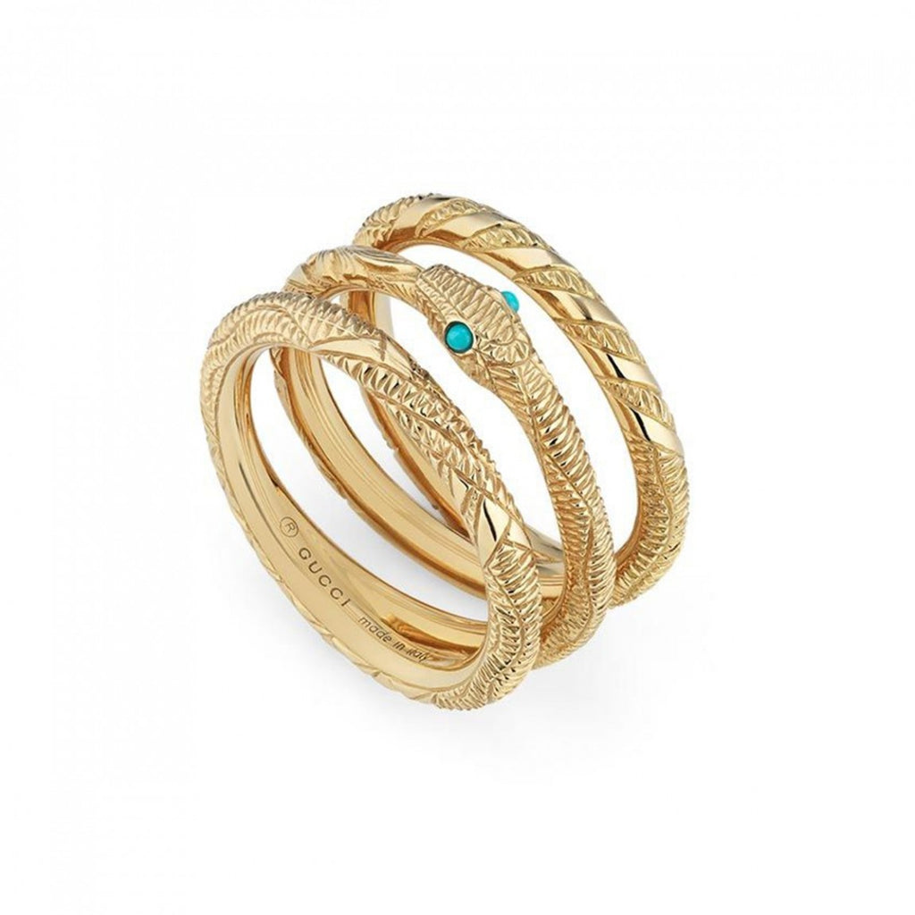 Ouroboros Wrap Around Turquoise Ring (18k Yellow Gold)