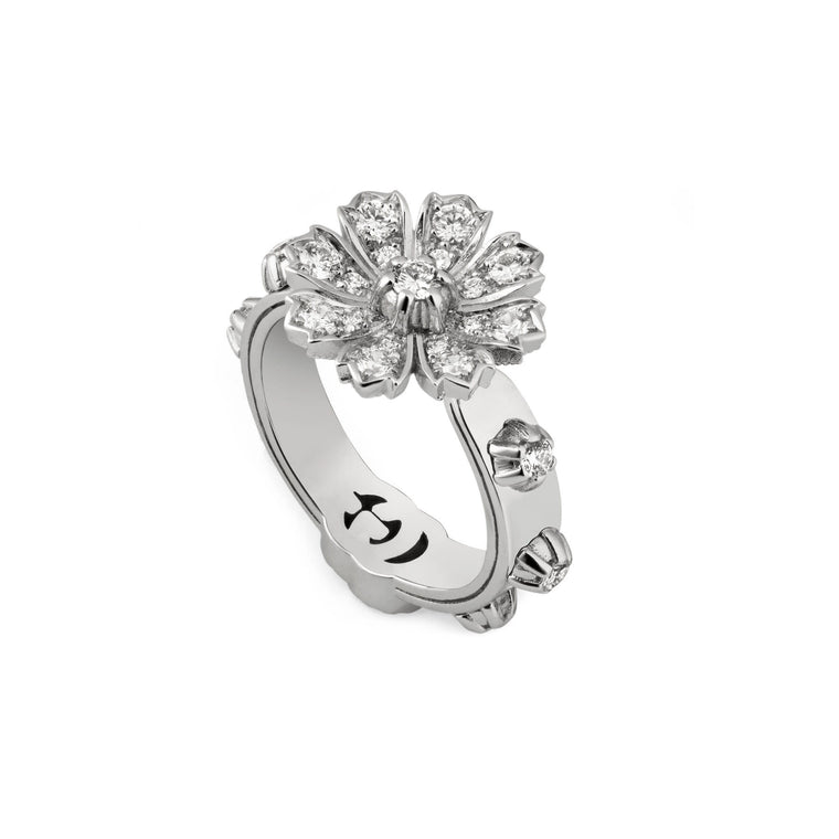 Diamond Flora Flower Ring .63ct  (18k White Gold)