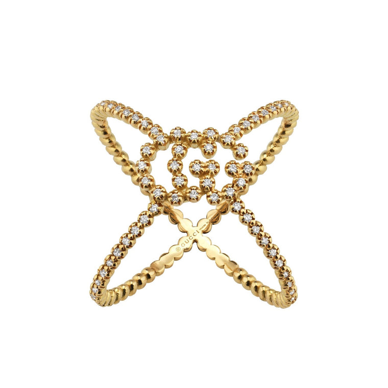 Diamond Running G Cross Ring (18k Yellow Gold)