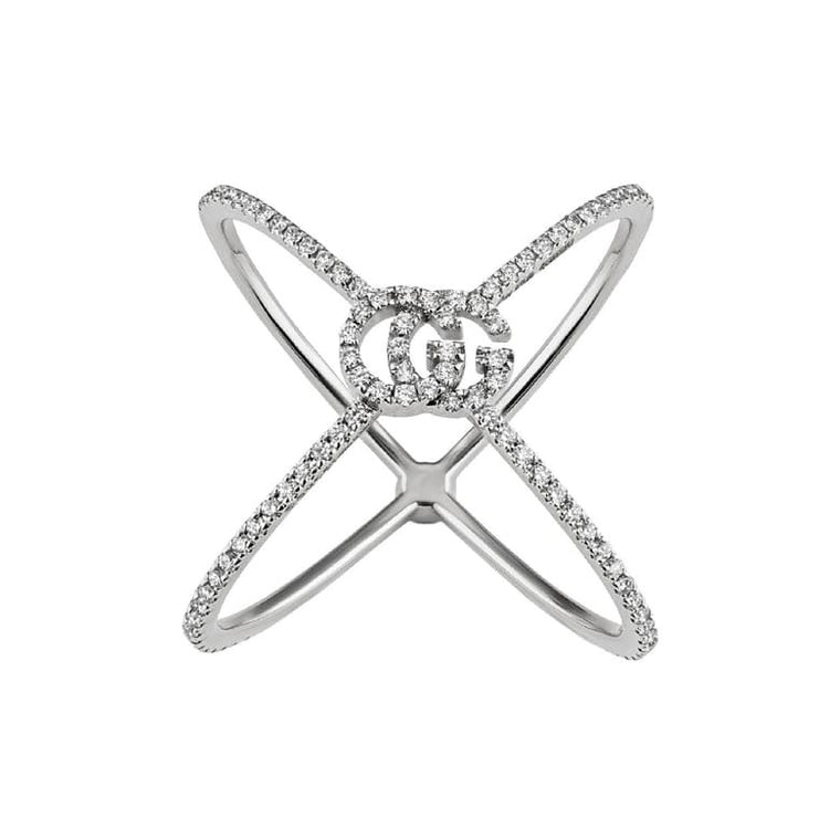 Diamond Running G Cross Ring (18k White Gold)