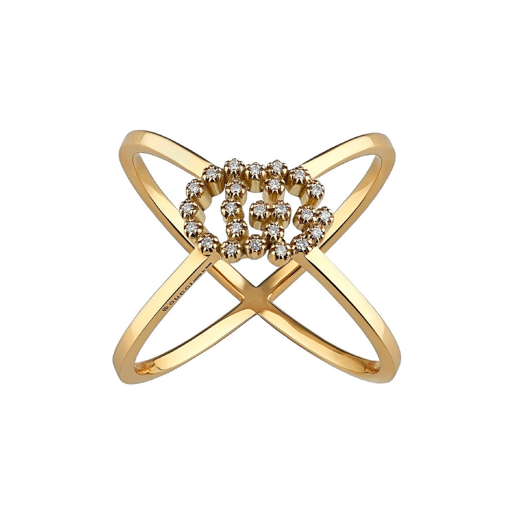 Diamond Logo & GG Cross Rng (18k Yellow Gold)