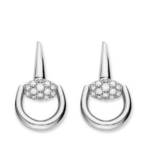 Horsebit Studs Earrings With Diamonds .85ct (18k White Gold)