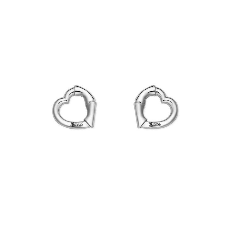 Bamboo Open Heart Earrings (sterling Silver)