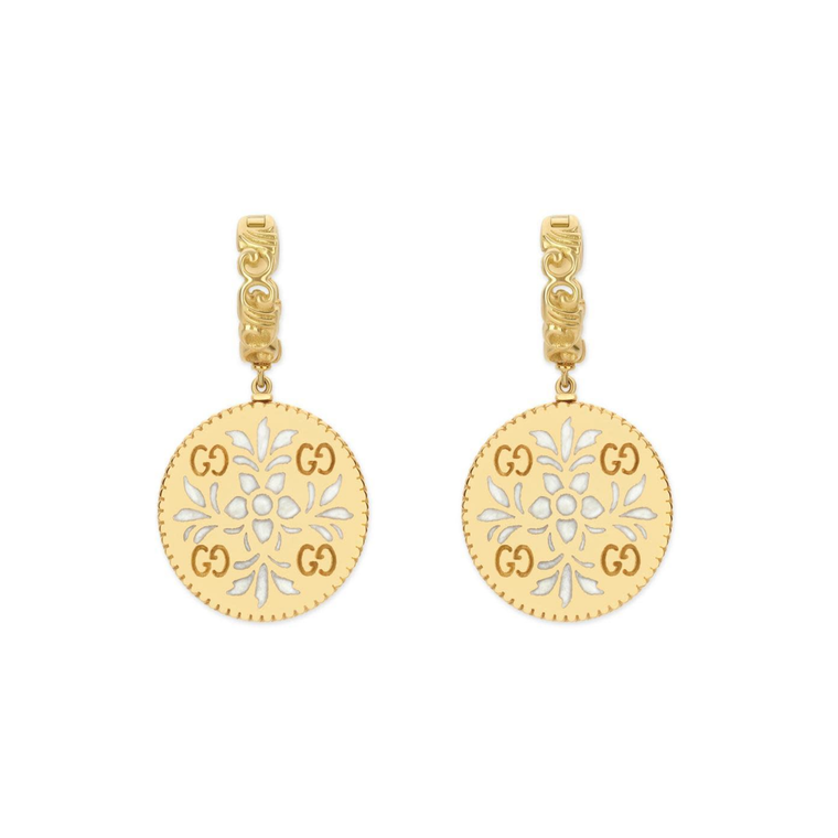 Icon Blooms Pendant Earrings White Enamel (18k Yellow Gold)