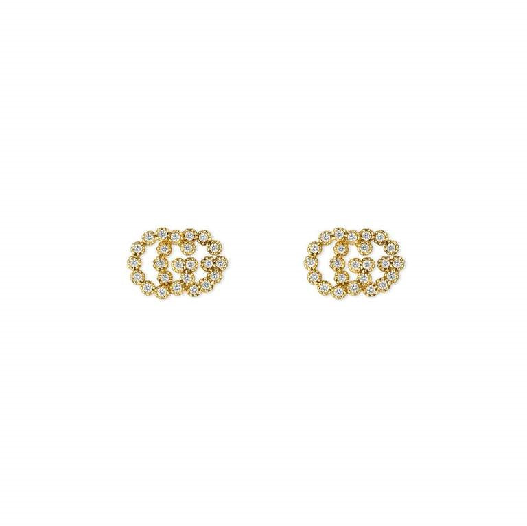 Diamond Running G Studs (18k Yellow Gold)