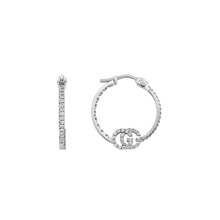 Diamond Running G Hoop Earrings (18k White Gold)