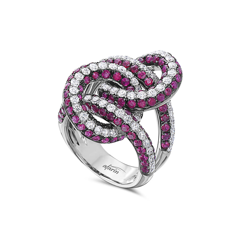 18k White Gold Ruby & Diamond Double Twist Ring