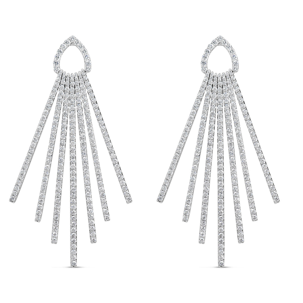 18k White Gold 4.44ct Diamond Spray Style Earrings