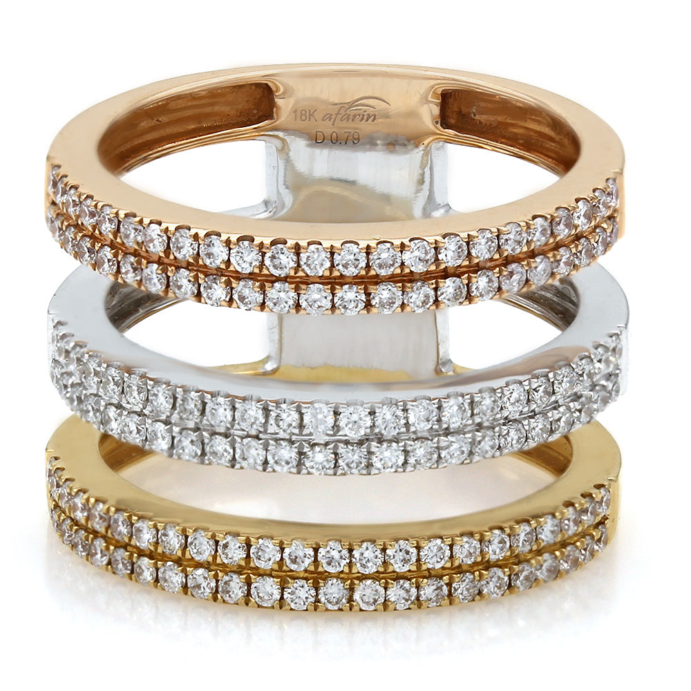 18k Gold Tri Colored Diamond 3 Row Ring (.79ct)