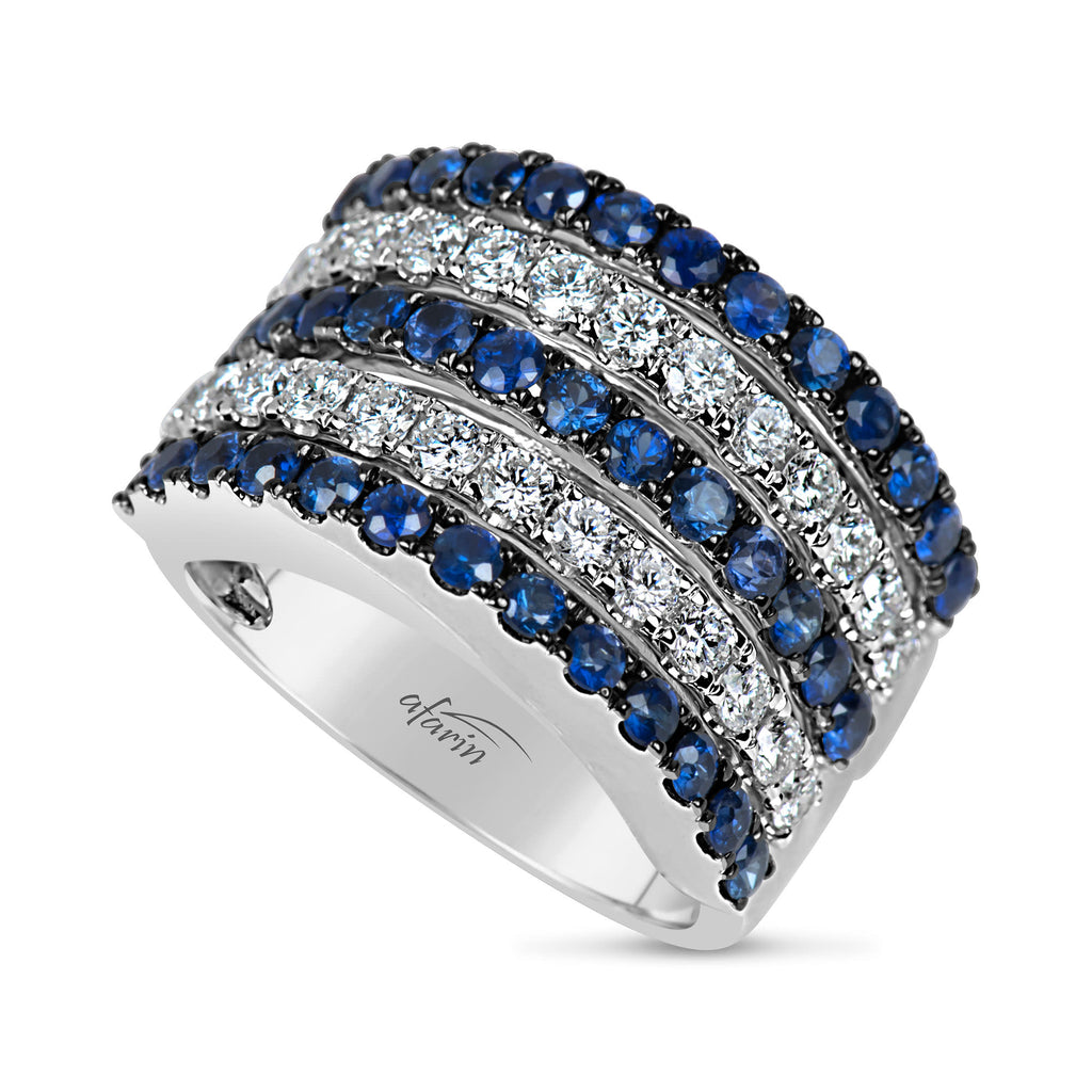 18k White Gold Diamond (.86ct) & Sapphire (1.77ct) 5 Row Ring