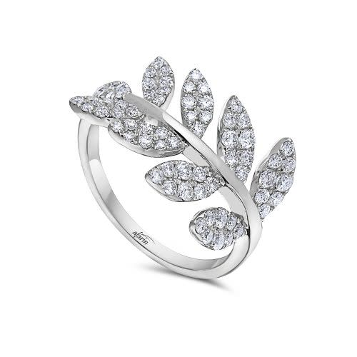 18k White Gold Diamond Pave Leaves Ring (.86ct)