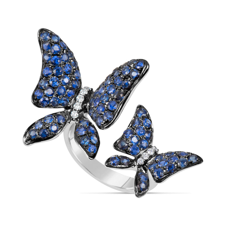 18k White Gold Sapphire (2.35ct) & Diamond (.90ct) Double Butterfly Ring