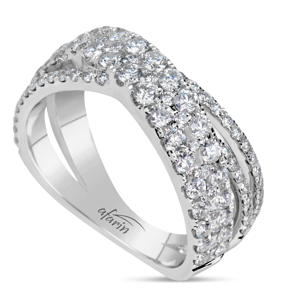 "18k White Gold Diamond ""X"" Ring (1.26ct)"