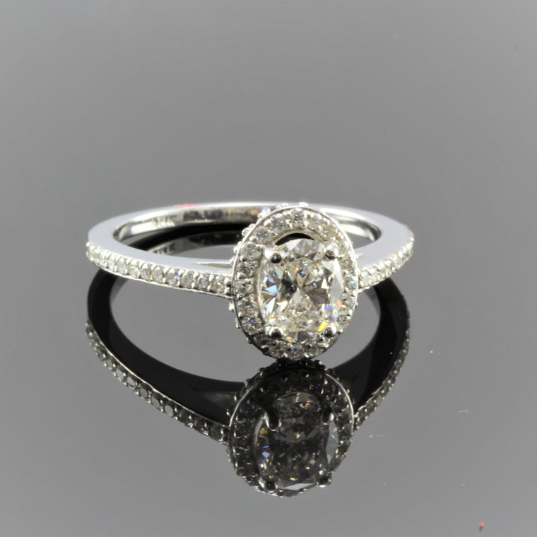 14k White Gold Oval Diamond With Diamond Halo and Diamond Shank Engagement Ring (.75ct)