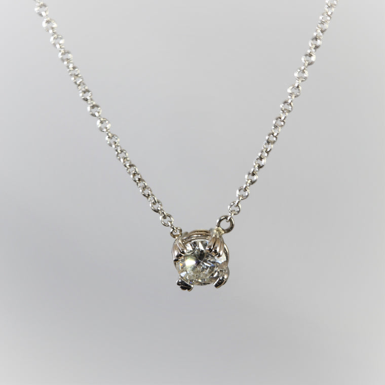 14k White Gold Round Diamond Solitaire 4 Prong Pendant Necklace (.35ct)