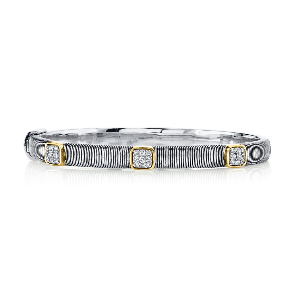 Sterling Silver & 18k Yellow Gold With 3 Station Diamond Bangle Bracelet (.36ct)