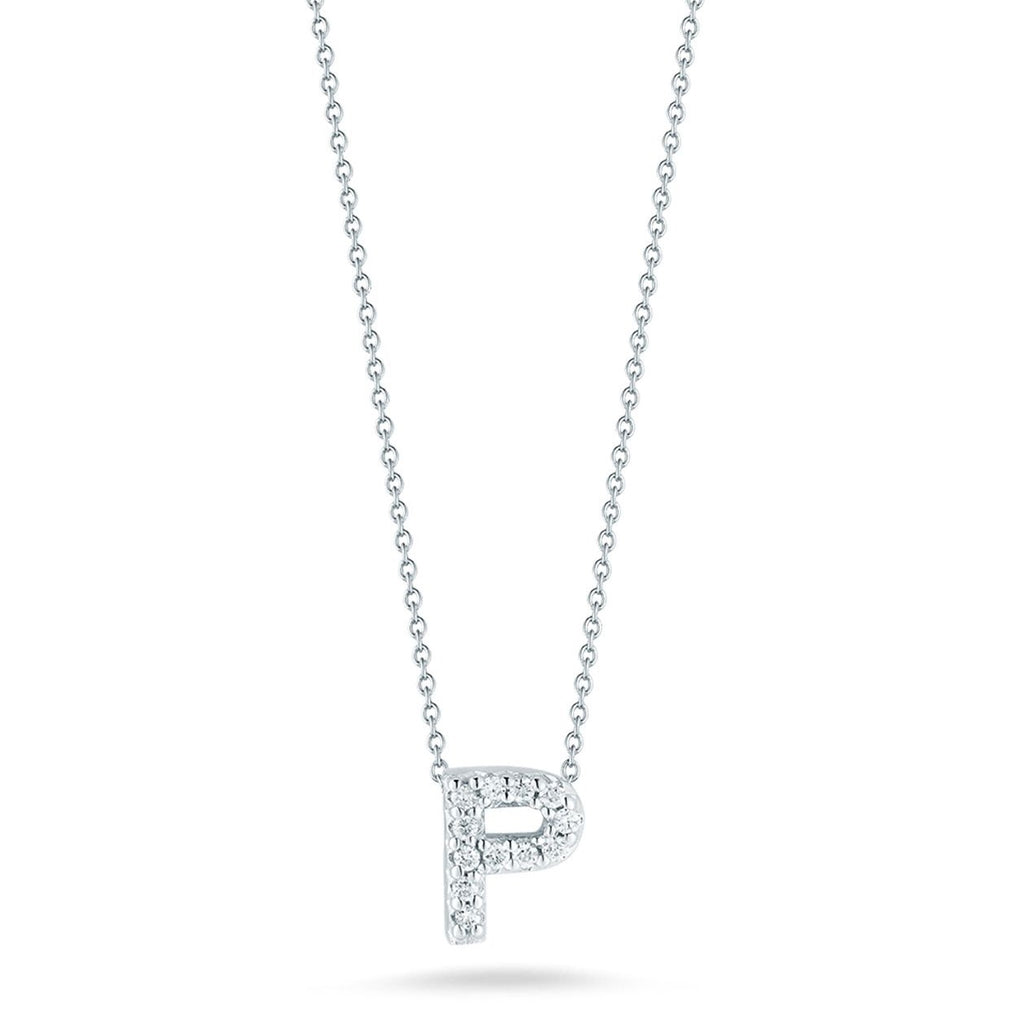 "Diamond ""P"" Love Letter Necklace (18k White Gold)"