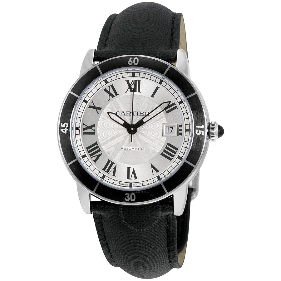 Stainless Steel 42mm Automatic Croisiere de Cartier Silver Dial Black Strap