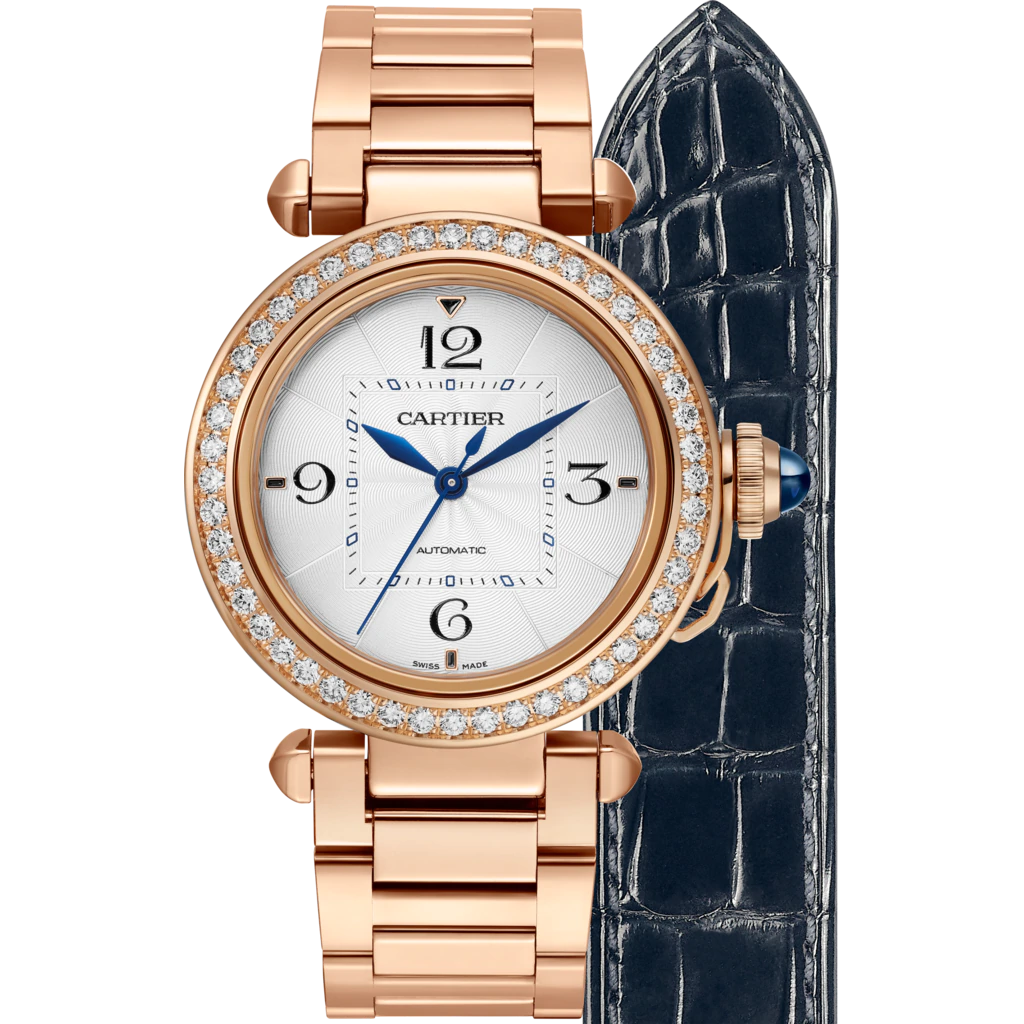 18K Pink Gold 35mm Auto Pasha with Diamond Bezel