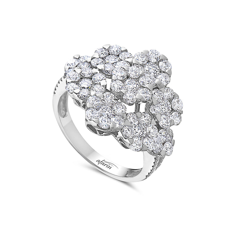 18k White Gold Diamond Illusion Cluster Ring (2.58ct)