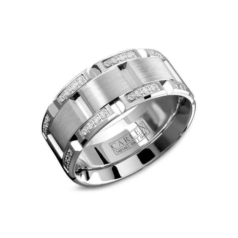 18k White Gold Band with Diamonds .48ct 7.5MM Cfit Size 6