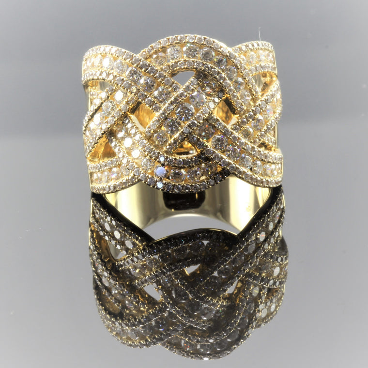 14k Yellow Gold Diamond Woven Wide Band (1.96ct)