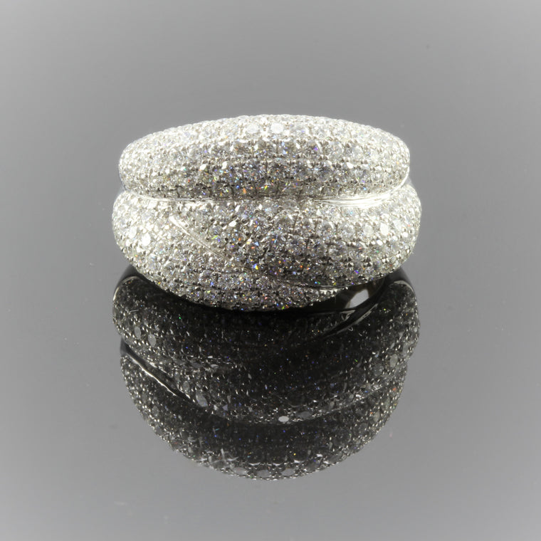 18k White Diamond Pave Wave Wide Band (2.48ct)
