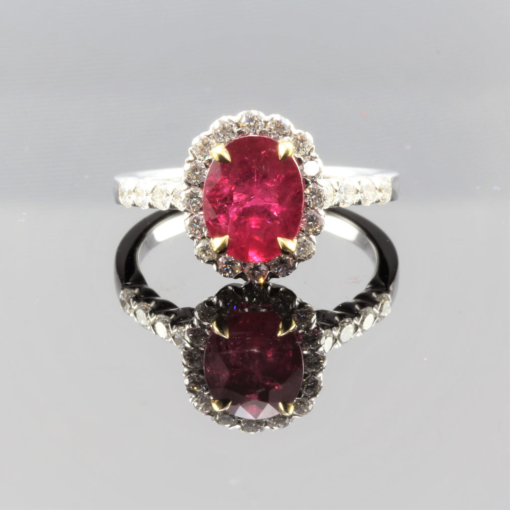18k Whtite Gold Oval Ruby (2cts) With Diamond (2.71cts) Halo Ring