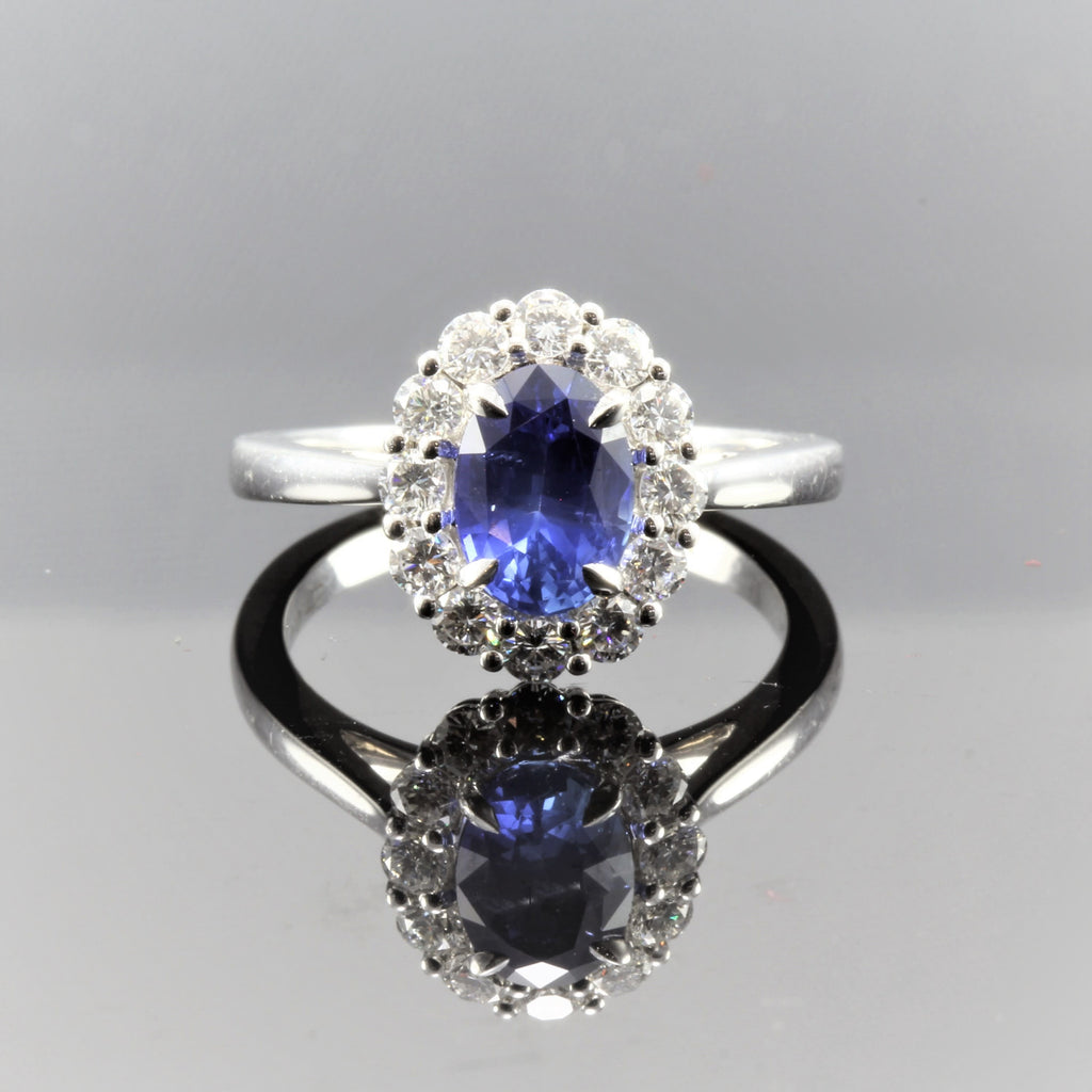 14k White Gold Oval Sapphire (1.58ct) With Diamond (.83ct) Rng