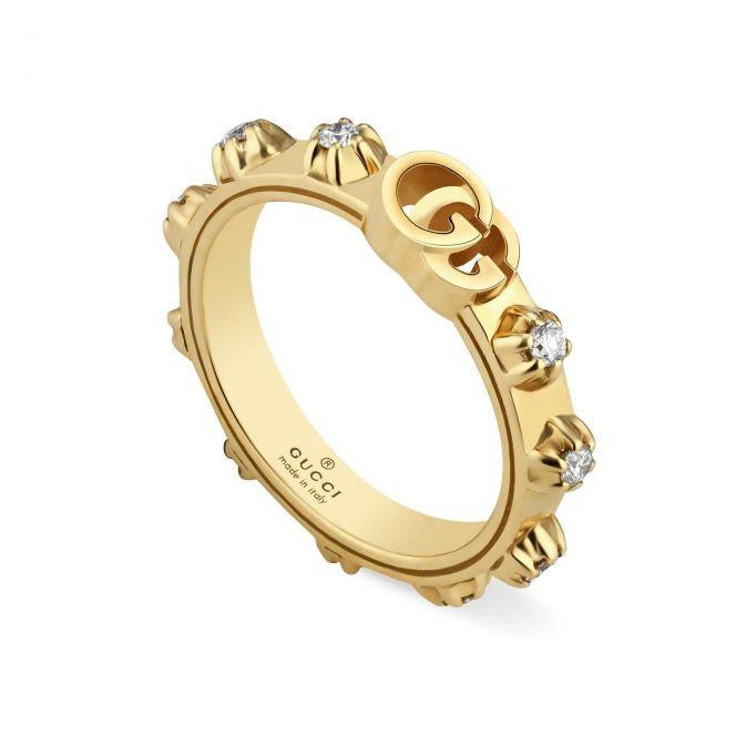 Diamond Running G Band Ring (18k Yellow Gold)
