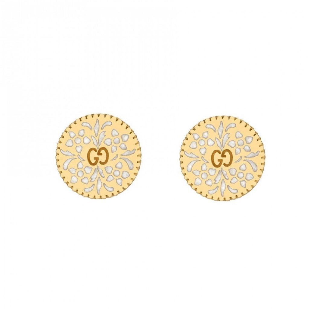 Icon Blooms Stud Earrings White Enamel (18k Yellow Gold)