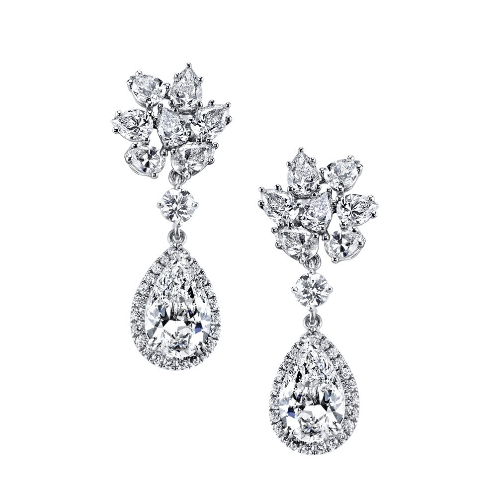 Round & Pear Shape Diamond Cluster With Pear Shape Diamond (6.01ct) Drop Platinum Earrings