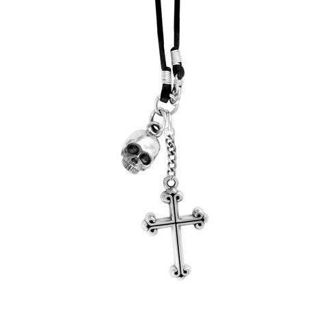 Sterling Silver Skull With Cross Braided Black  Leather Cord (King Baby)