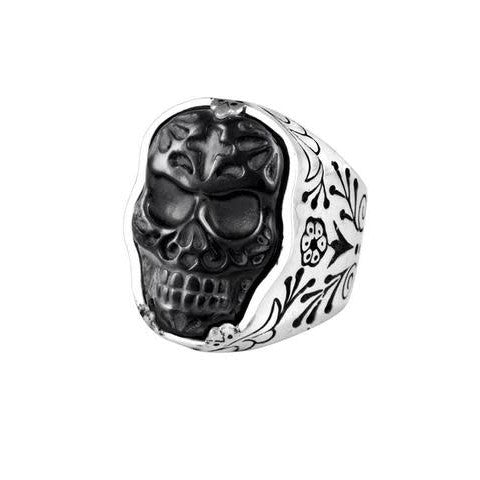 Jet Day of the Dead Skull Ring Size 10 (King Baby)