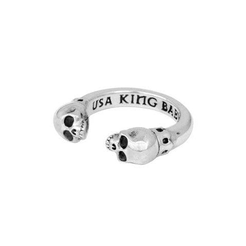 Sterling Silver Open Ring With Skulls (King Baby)