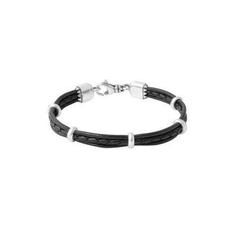 Multi Strand Leather Bracelet With Silver Beads (King Baby)