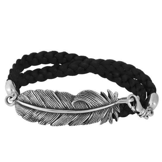 Sterling Silver Raven Feather Double Wrap Black Leather Bracelet (King Baby)
