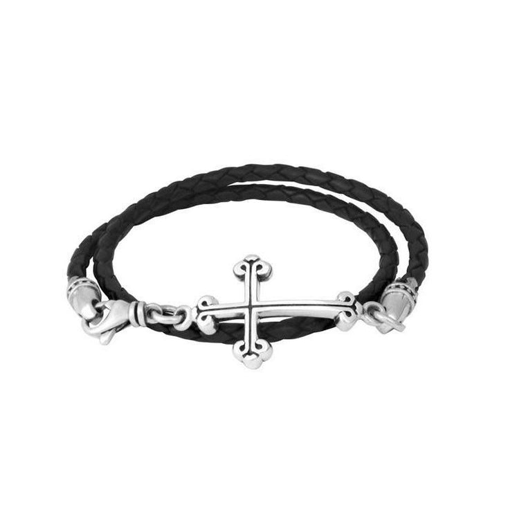 Thin Braid Leather Bracelet With Cross (King Baby)