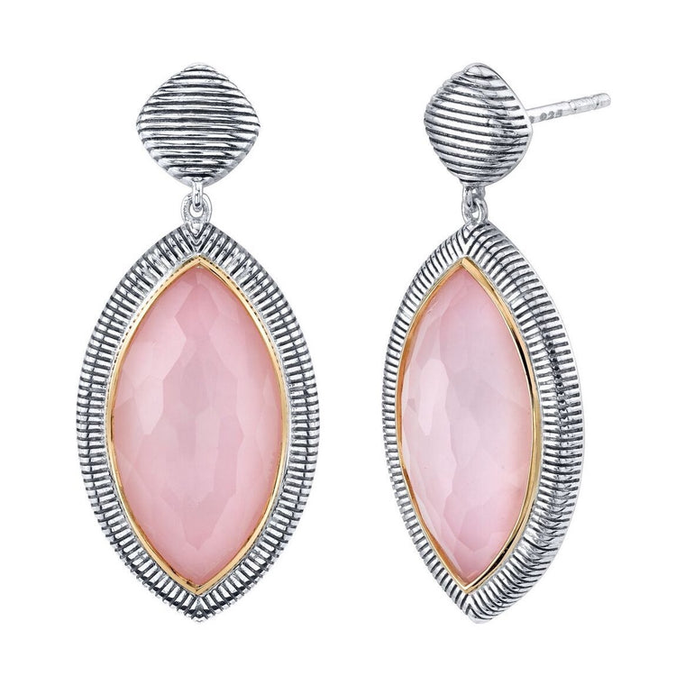 Sterling Silver Pink Opal Marquise Single Drop Earring