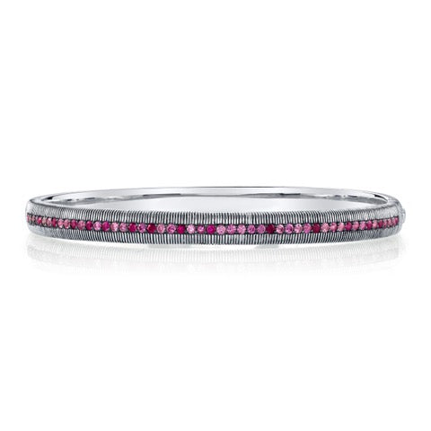 Sterling Silver With Graduated Pink Sapphire Bangle Bracelet